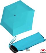 Doppler Mini Slim Damen Taschenschirm - extrem flach - uni summer blue