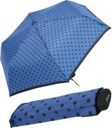 Damen Mini Taschenschirm Derby Hit Flat - Dots Punkte - blau