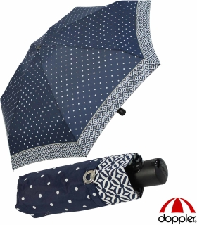 Doppler Damen Taschenschirm Magic XS Carbonsteel  sturmfest Auf-Zu Automatik Nizza Dots - navy