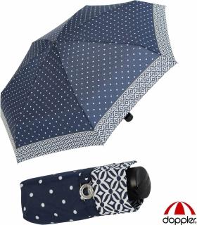 Doppler Mini XS Damen Taschenschirm klein und leicht - Nizza Dots - navy