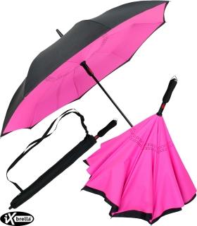 iX-brella Reverse - Automatik Regenschirm umgekehrt - umgedreht zu öffnen - schwarz-neon pink