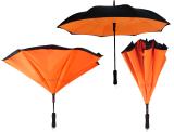 iX-brella Reverse - Automatik Regenschirm umgekehrt - umgedreht zu öffnen - schwarz-neon orange