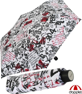 Doppler Mini Taschenschirm Havanna sturmfest leicht - Graffiti - weiß