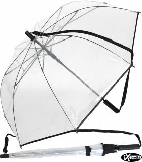 iX-brella Damen Umhängeschirm durchsichtig transparent mit Automatik