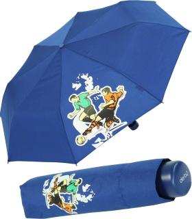 Kinderschirm Jungen Mini Taschenschirm light Kids blau - football