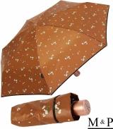 M&P Damen Taschenschirm mit Auf-Zu Automatik - Floral braun