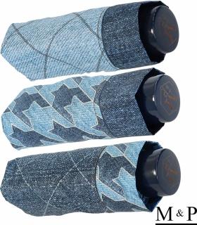 M&P Super-Mini Damen Taschenschirm klein leicht mit extra großem Dach - Jeans