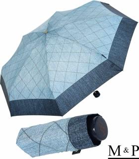 M&P Super-Mini Damen Taschenschirm klein leicht mit extra großem Dach - Jeans Borte