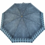 M&P Super-Mini Damen Taschenschirm klein leicht mit extra großem Dach - Jeans Pepita-Borte