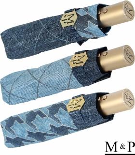 M&P Damen Taschenschirm mit Auf-Zu Automatik - Jeans