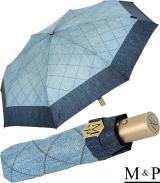 M&P Damen Taschenschirm mit Auf-Zu Automatik - Jeans Borte