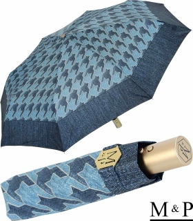 M&P Damen Taschenschirm mit Auf-Zu Automatik - Jeans Pepita