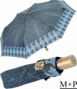 M&P Damen Taschenschirm mit Auf-Zu Automatik - Jeans Pepita-Borte