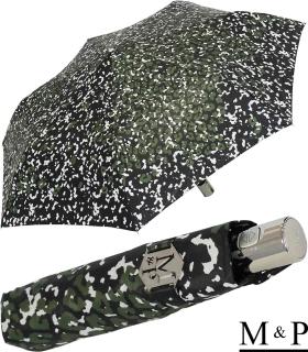 M&P Damen Taschenschirm mit Auf-Zu Automatik - Animal Print grün