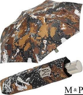 M&P Damen Taschenschirm mit Auf-Zu Automatik - Animal Print braun