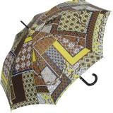 M&P Damen Regenschirm Long stabil Automatik Patchwork braun