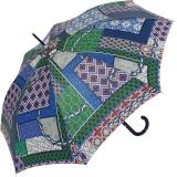 M&P Damen Regenschirm Long stabil Automatik Patchwork blau
