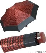 Edler Super Mini Taschenschirm Satin von PERTEGAZ - klein aber extra großes Dach - Trenzado rot