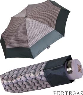Edler Super Mini Taschenschirm Satin von PERTEGAZ - klein aber extra großes Dach - Trenzado flieder