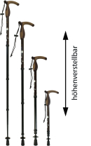 Gastrock Gehstock Teleskopstock mit Stoßdämpfer Combi-Griff - Floral