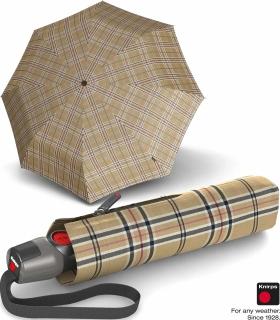 Knirps Taschenschirm T.200 Duomatic - stabil und sturmfest - Check beige