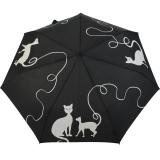 Knirps Regenschirm Slim Duomatic - klein und leicht mit Auf-Zu Automatik - kitty