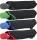 Bicolor Automatik Taschenschirm schwarz mit farbigem Griff und Einfassband