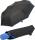 Bicolor Automatik Taschenschirm schwarz mit farbigem Griff und Einfassband - blau
