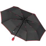 Bicolor Automatik Taschenschirm schwarz mit farbigem Griff und Einfassband - rot
