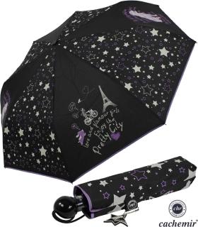 Cachemir Regenschirm Taschenschirm sturmsicher Auf-Automatik Chic Dog - Hund - schwarz
