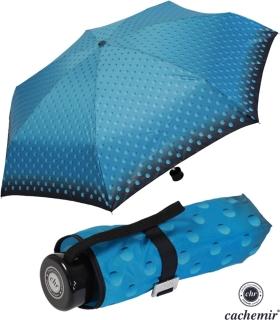 Cachemir Regenschirm Taschenschirm mini stabil sturmsicher Dots - türkis