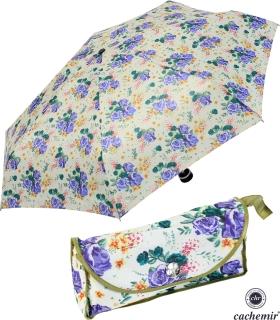 Cachemir Regenschirm Taschenschirm mini stabil sturmsicher Printed Flowers - olive