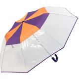 Cachemir Regenschirm Taschenschirm transparent mit farbigem Einfassband - lila