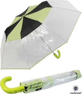 Cachemir Regenschirm Taschenschirm transparent mit farbigem Einfassband - grün