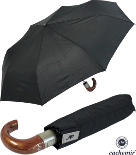 Cachemir Regenschirm Taschenschirm Automatik Rundhakengriff Holz Optik schwarz