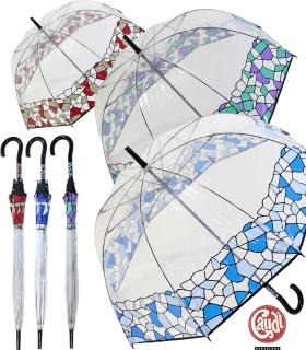 Gaudi Regenschirm Stockschirm groß stabil transparent mit Mosaik Borte