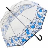 Gaudi Regenschirm Stockschirm groß stabil transparent mit Mosaik Borte - blau