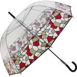 Gaudi Regenschirm Stockschirm groß stabil transparent mit Mosaik Borte - rot