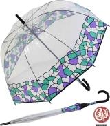 Gaudi Regenschirm Stockschirm groß stabil transparent mit Mosaik Borte - lila