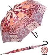 Gaudi Regenschirm Automatik Stockschirm Damen groß stabil sturmsicher Patchwork Muster - berry