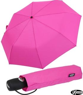 iX-brella stabiler Taschenschirm Mini Regenschirm mit Auf-Zu-Automatik - mid class neon pink