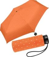 Ultra Mini Taschenschirm Damen Regenschirm Flash - Dots orange