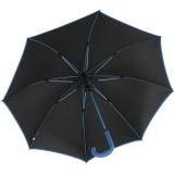 Bicolor Automatik Stockschirm schwarz mit farbigen Streben, Griff und Einfassband - blau