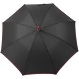 Bicolor Automatik Stockschirm schwarz mit farbigen Streben, Griff und Einfassband - rot