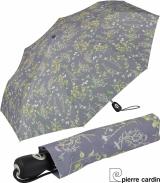 Pierre Cardin Damen Taschenschirm mit Auf-Zu-Automatik - Poesie - grau
