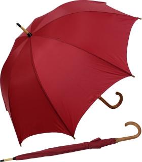 Regenschirm Stockschirm bordeaux mit Holzgriff