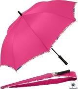 Cachemir Stockschirm Automatik mit Schultertasche - pink