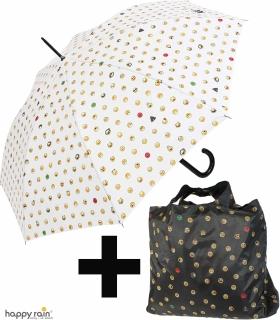 Geschenkset - Automatik Stockschirm und Shopper-Bag Emoticon - white-allover