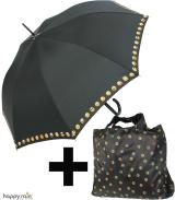 Geschenkset - Automatik Stockschirm und Shopper-Bag Emoticon - black-border