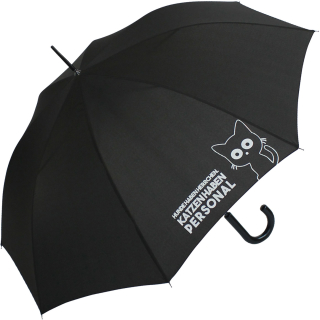 """Regenschirm-Set Stockschirm und Taschenschirm mit Automatik """"Katzen haben Personal..."""" schwarz schwarz"""